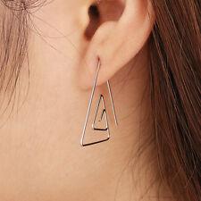 Geometric Big Triangle Earrings Silver Trend Boho Retro - UK SELLER - FREE P&P