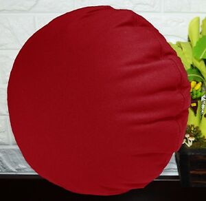 PL07n Red Canvas Water Proof Outdoor Round Shape Cushion Cover Custom Size
