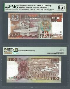 SINGAPORE $100 Dollars 1995, P-23c Ship Series, PMG 65 EPQ Gem UNC, Pretty Type