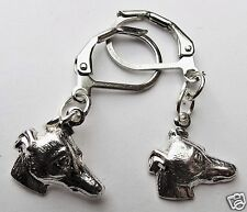 GREYHOUND HEAD DOG PUPPY SMALL SILVER TONE EARRINGS FOR PIERCED EARS