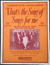 "1929 ""FORHAN SONG SHOP"" NBC RADIO SHEET MUSIC ""THAT'S THE SONG OF SONGS FOR ME"""