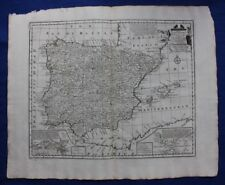 Antique atlas map SPAIN, PORTUGAL, BALEARIC ISLANDS, GIBRALTAR, E. Bowen 1747