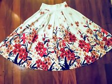 Midi Floral Skirt - Small size - Size 6 or 8 - White and Red - Modest