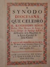 RARE IMPRESSION DE LIMA EN COULEURS . ALDAY Y ASPEE. : SYNODO DIOCESANA . 1764