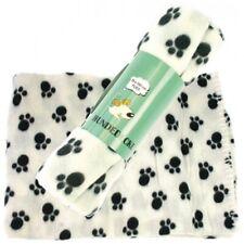 Hundedecke Decke für Hunde, Fliesdecke Fleece, ca. 100 x 70 cm, mit Dekor, weiß