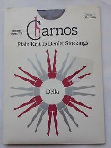 Vintage Charnos 15 denier Plain knit Intrigue nylon stockings. Size Medium