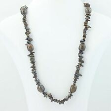 """New Tiger Iron Necklace - Beaded Brown Stone Sterling Silver 36"""""""