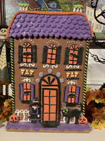 """Halloween Gingerbread Spooky Haunted House 15"""" Clay Dough Witch Cat Candy Corn"""