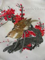 "Chinese 100% hand embroidered silk suzhou embroidery art:plum flower birds 8"""