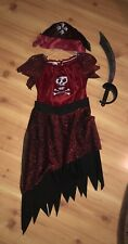 Disguise Red Black Pirate Girl's 3 Piece Dress Up Costume Sword Size 10/12 Plus