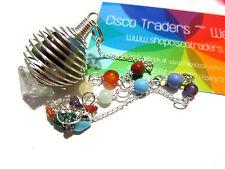 Chakra Cage Pendulum Quartz Pyramid B033 Information Card 10inch Reiki Healing