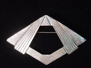 Silver Pewter 'ART DECO Diamond' Pin