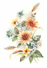 Ceramic Decals Mixed Daisy Wheat Floral Bouquet 6 1/2 inch (0702)
