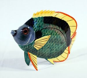 """Hand Painted 6"""" Tropical Fish Statue Figurine Sculpture Green 5003"""