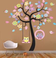 Giant Owls Swing on Colorful Flower Tree Wall Stickers Art Decal Mural Paper Kid