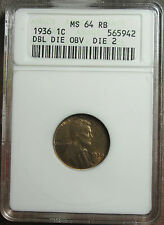 1936 DDO Lincoln Cent OLD ANACS MS-64 RB Tough Redbook Variety FS-102