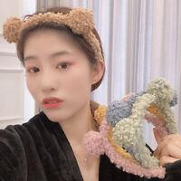 Ladies Girl's Lamb Wool Headband Hairband Bear Ears Plush Hair Band Accessories
