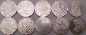 Germany 5DM Silver Coins 1960s-1970s Uncirculated x 10 Different