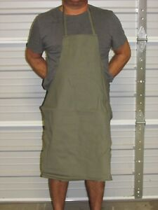 """NEW! HEAVY DUTY COTTON WORK APRON, 33"""" x 25"""", OLIVE GREEN"""