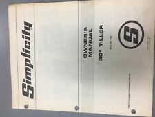 """simplicity 30"""" tiller #628 tractor/manual & illustrated parts list"""