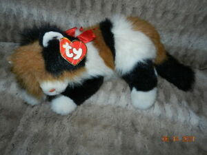 """TY Classic Plush 1995 Maggie The Calico Laying Cat 18"""" Stuffed Toy"""