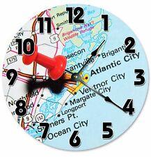 """ATLANTIC CITY MAP LOCATION Clock - Large 10.5"""" Wall Clock - 2077"""