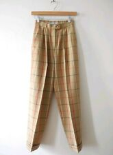 VTG Burberrys Classic Plaid High Waist Trouser Pants Wool Dress Burberry Nova