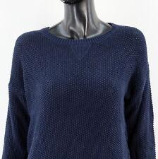 SUPERDRY Damen Gr M Pullover Shirt Langarm Rundhals Transparent Navy Blau N790