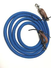 """Yacht rope reins 5/8""""  with Water Loops Electric Blue rope rein Trigger Snaps"""