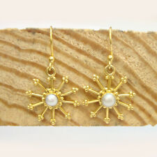 Beautiful 925 Sterling Silver Gold Plated Pearl Women's Dangle Earrings For GIFT
