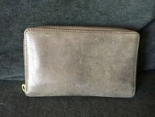 FOSSIL Emma Smartphone Clutch Wallet Rose Gold Metallic Leather Fits iPhone 6