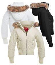 Womens Faux Fur Padded Jacket Ladies Size 8 10 12 14 Black Stone