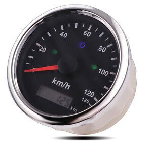 85mm Digital Car Boat GPS Speedometer 125km/h Mileage Adjustable Overspeed Alarm