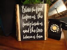 Bless the food before us wood sign. Raw wood edge. Vinyl words.