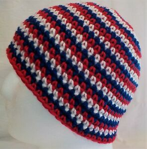 Red, White & Blue Patriotic BRAND NEW Handmade Crocheted Beanie Hat fits Adults