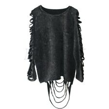 Rock Punk Gothic Tassel Grunge Swag Shirt Top Faded Rip Torn Emo Baggy Cut Out