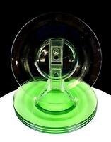 "DEPRESSION GREEN VASELINE SMOOTH GLASS 4 PIECE 8"" SALAD / LUNCHEON PLATES 1930'S"