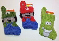 Knitting Pattern-Mario Inspiré Noël Stocking Décoration-Yoshi & Luigi