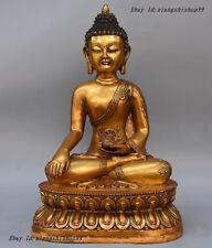 17 Tibet Buddhism Bronze Gilt 8 Auspicious Symbaol Robe Shakyamuni Buddha Statue