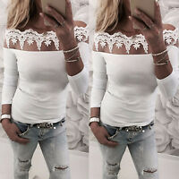 Womens Off Shoulder Floral Lace Long Sleeve T-Shirt Tops Casual Blouse Tee US