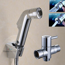 "2 Function Douche Toilet Handheld Bidet Shower Spray Shattaf Kit 7/8""Adapter Set"