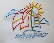 "#3450 9-1/2""x7-1/2"" Sun,Sailing Boat,Sea Wave,Surfing Embroidery Applique Patch"