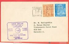 India 2 diff stamp used on BOEING Flight cover to Karachi Pakistan t1963