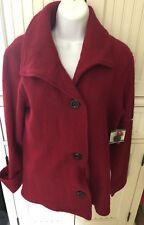 NWT Kasper Fire Red Wool Three Button Jacket Women's Large- Very Warm!