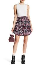 IRO Paris Orchid Printed Smocked Voile Skirt in Pink FR 38 / US 6 NWT $250