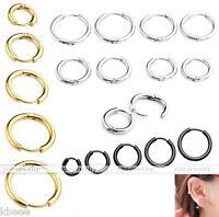 8-16mm Stainless Steel Tube Ear Helix Hoop Huggie Sleeper Stud Earrings Piercing