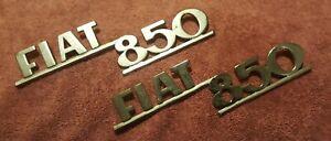 Fiat 850 badgework / script (NOS) original metal