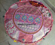 """By Pink Indian Floor Pouf Ottoman Cover pouffe Foot Stool Moroccan Patchwork 22"""""""