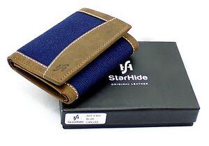 Starhide RFID Trifold Designer Wallet Distressed Hunter Real Leather Canvas 805