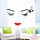Eyelashes Eyes Wall Sticker Red Lips Decal Vinyl Mural Art Girls Room Home Decor